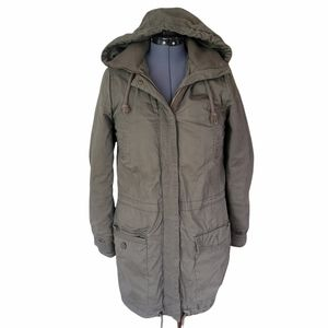 H&M LOGG Utility Jacket Sz 4 Hooded Army Green Military Coat